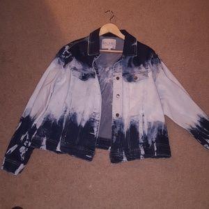 NWOT  bleach dyed denim jacket